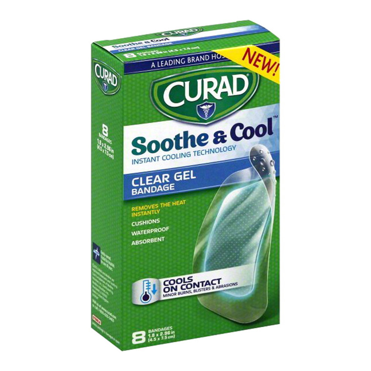 Curad Soothe & Cool Instant Cooling Technology Clear Gel Bandages, 8 Ea