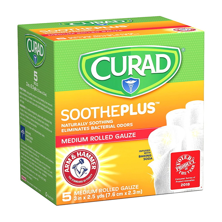 "Curad Soothe Plus Medium Rolled Gauze, 3"" x 2.5"", 5 Ea"