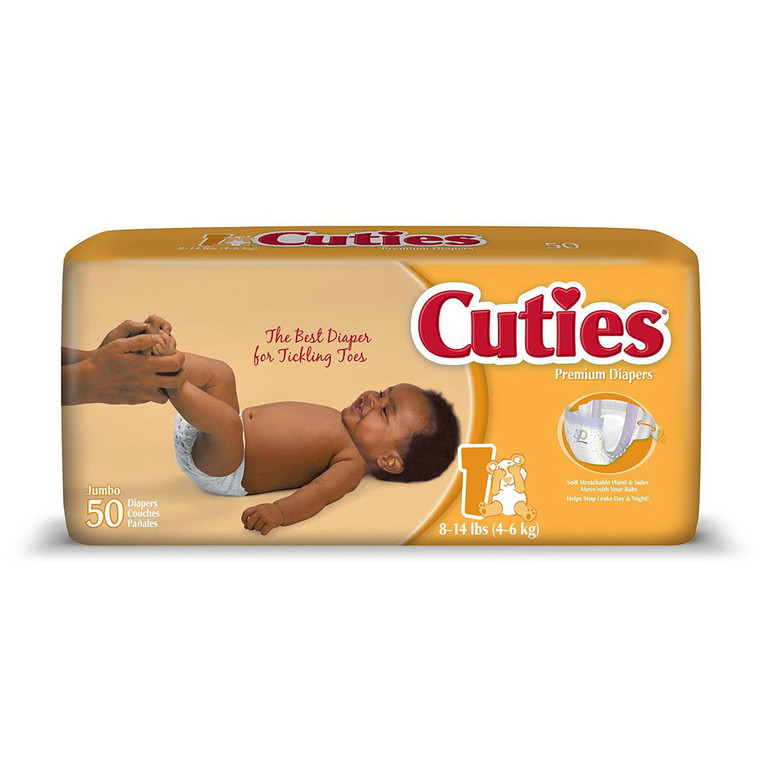 Cuties Baby Diapers with Heavy Absorbency, Size 1, 8 - 14 lbs, 50 Ea