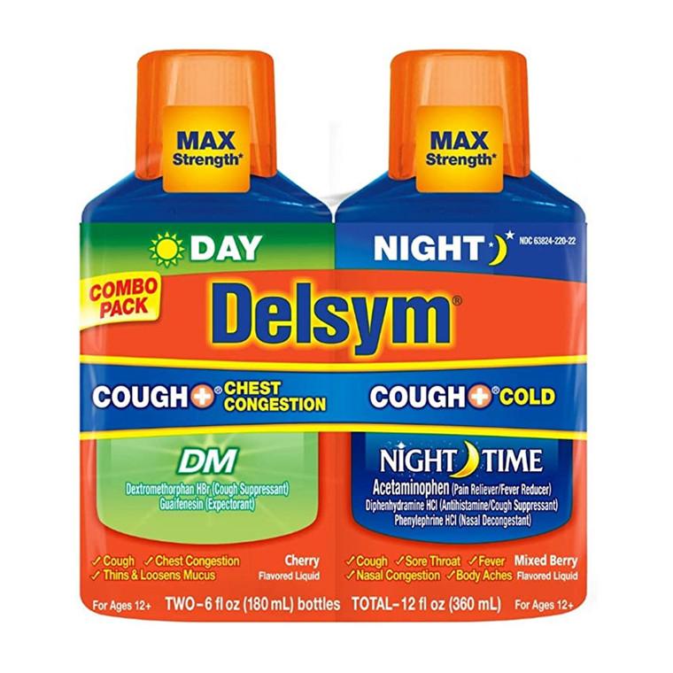 Delsym Children's Cough Cold Chest Congestion Day & Night Cold Liquid, 2 Ea/6 Oz