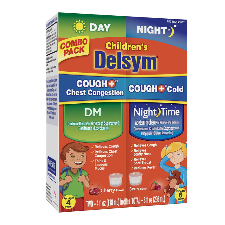 Delsym Children's Cough Cold Chest Congestion Day & Night Cold Liquid, 2 Ea/4 Oz