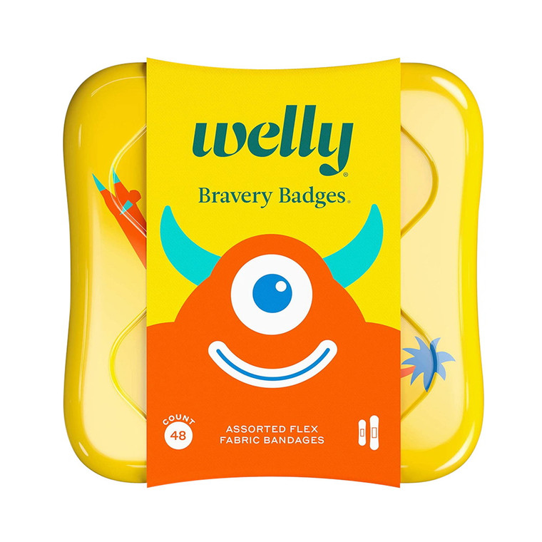 Welly Kids Bravery Badges Assorted Monster Flex Fabric Bandages, 48 Ea