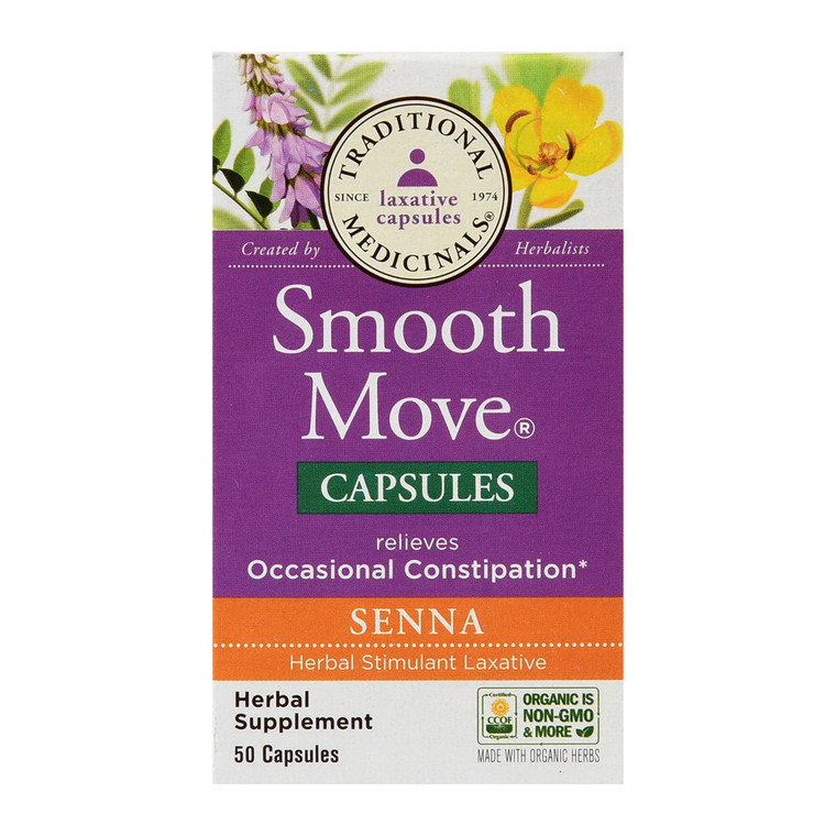 Traditional Medicinals Smooth Move Senna Herbal Supplement Capsules, 50 Ea
