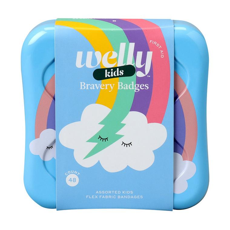 Welly Bravery Badges Assorted Kids Rainbow Flex Fabric Bandages, 48 Ea