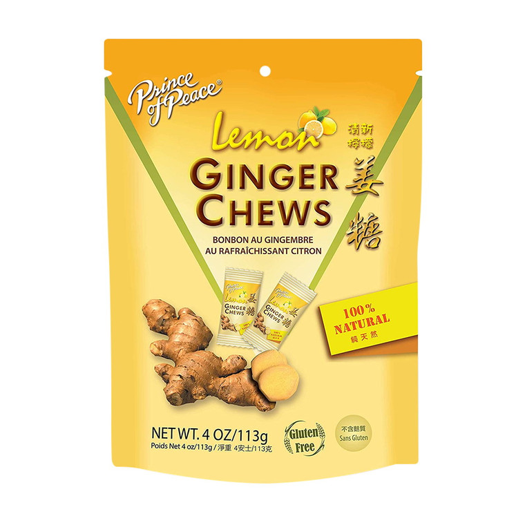 Prince of Peace 100% Natural Ginger Chews Candy with Lemon, 4 Oz