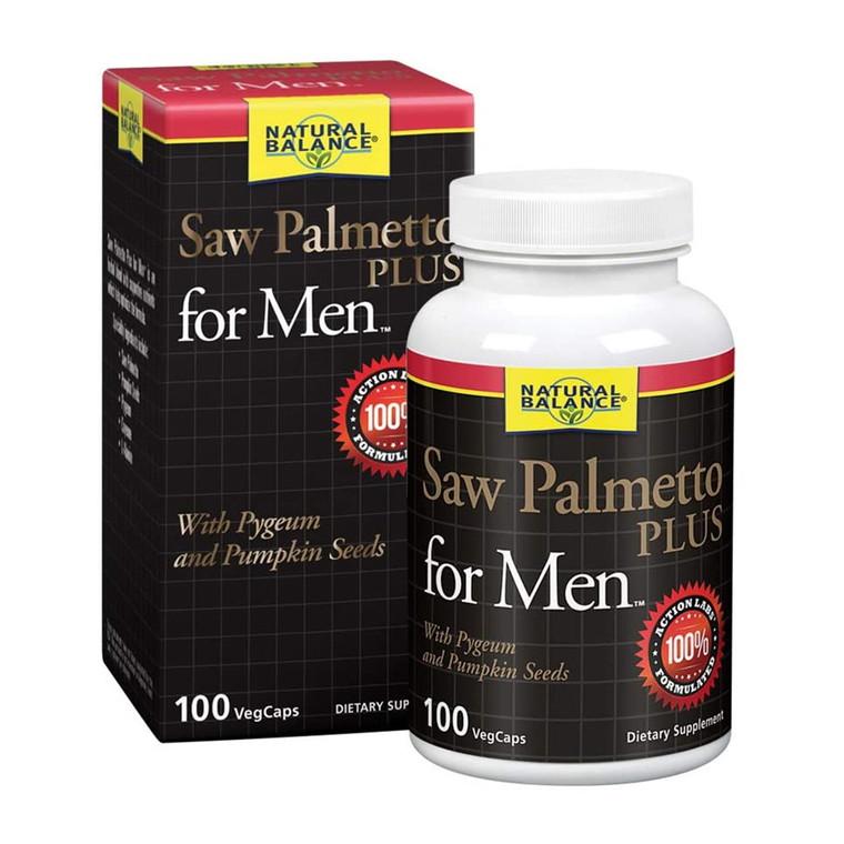 Natural Balance Saw Palmetto Plus for Men Veg Capsules, 100 Ea