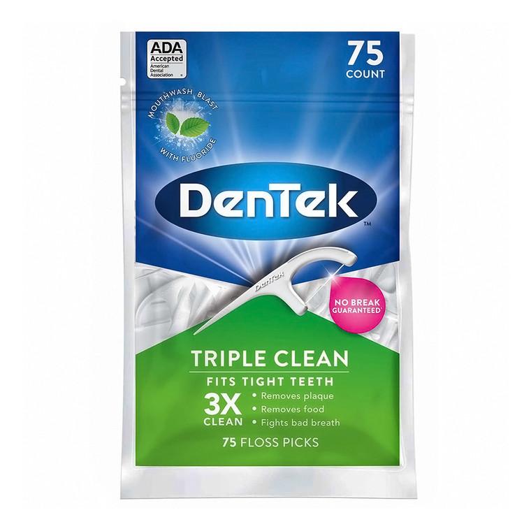 Dentek Triple Clean Floss Picks, Fresh Mint, 75 Ea