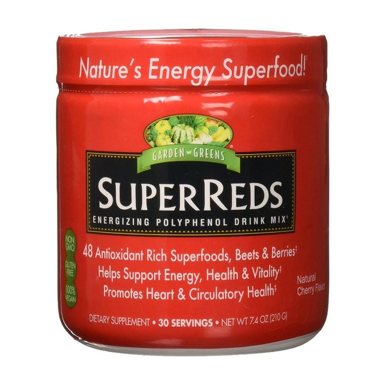 Garden Greens Super Reds Energizing Polyphenol Drink Mix, Cherry, 7.4 Oz