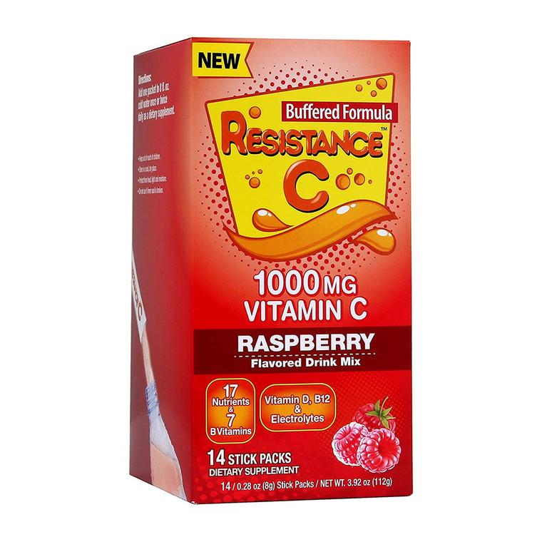 Resistance C Raspberry Flavored Vitamin C 1000mg Drink Mix Stick Packs, 14 Ea