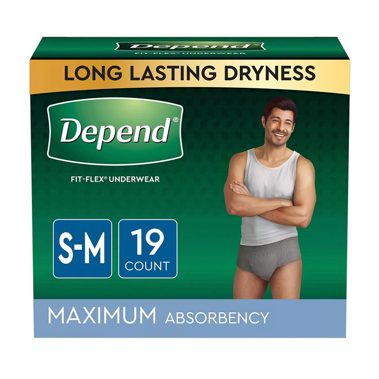 Depend Fit-Flex Incontinence Underwear for Men, Maximum Absorbency, Small/Medium, 19 Ea/4 Pack