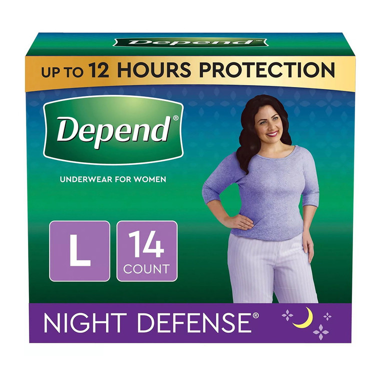 Depend Incontinence Underwear for Women, Night Defense Large - 14 Ea/2 Pack