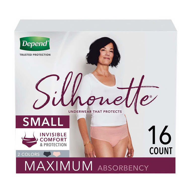 Depend Silhouette Incontinence Underwear for Women, Maximum Absorbency, Small, 16 Ea/2 Pack
