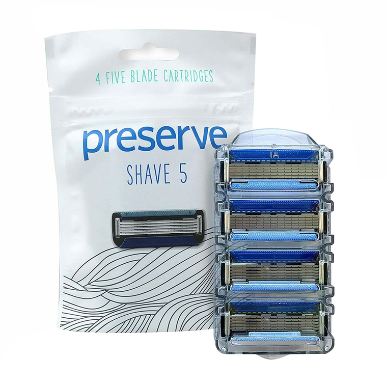 Preserve Shave Five Blades Replacement Cartridges for Preserve Shave, 4 Ea