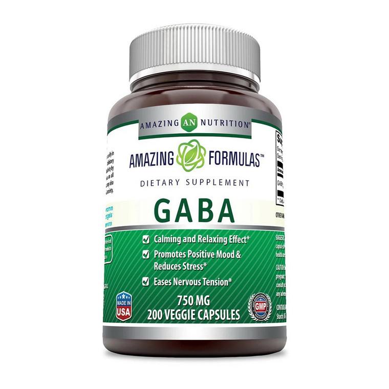 Amazing Formulas Gaba Dietary Supplement 750 Mg Veggie Capsules, 200 Ea