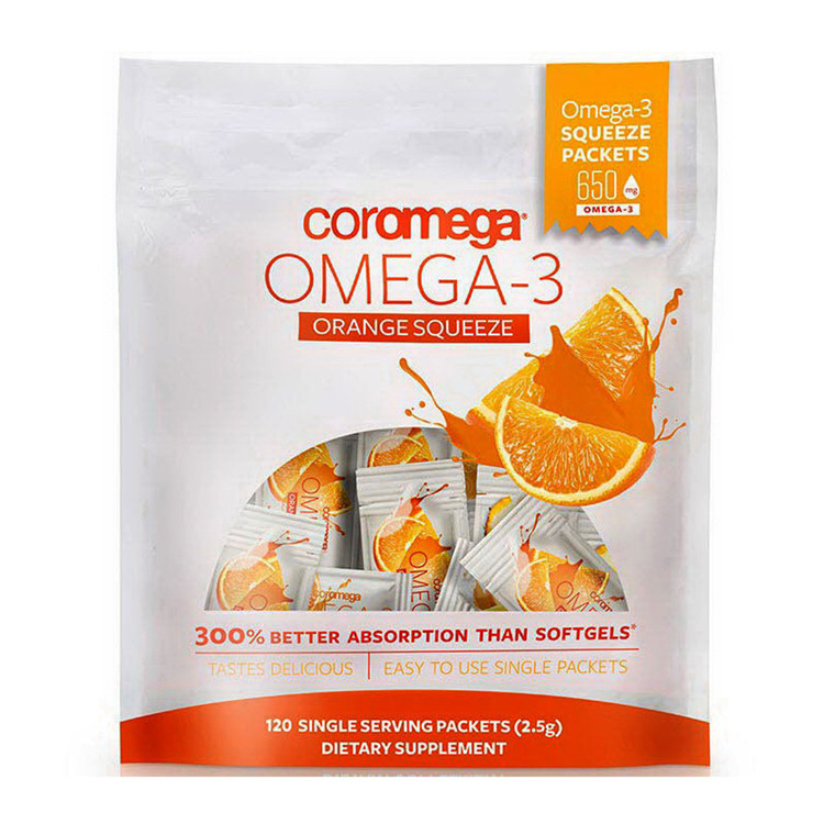 Coromega Omega 3 Fish Oil Squeeze Packets Supplement 650mg, Orange Flavor, 120 Ea
