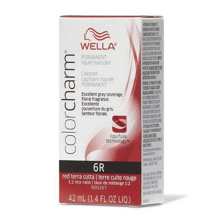 Wella Color Charm Liquid Permanent Hair Color 6R Red Terra Cotta, 1.4 Oz