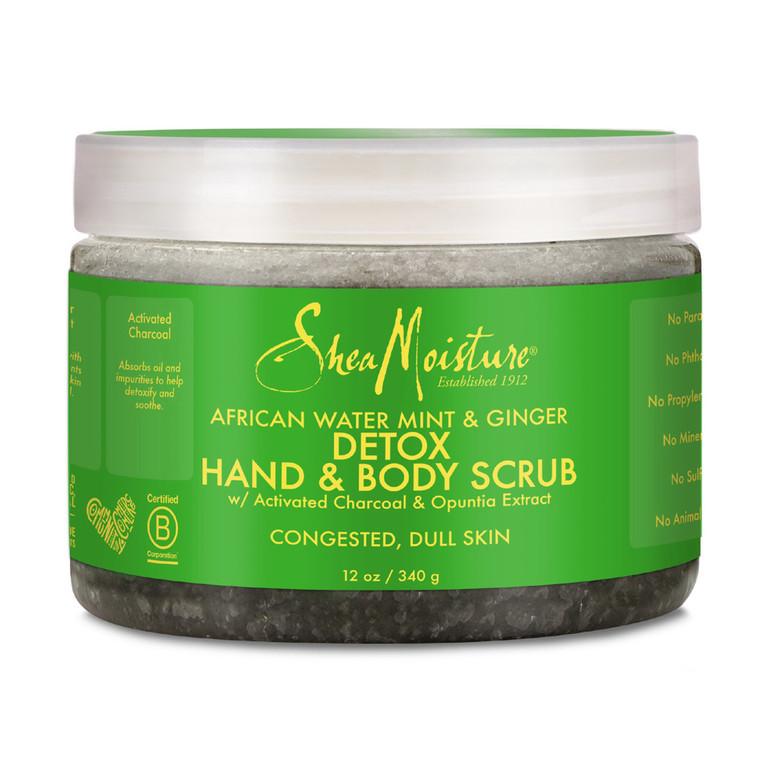 Shea Moisture African Water Mint & Ginger Detox Hand & Body Scrub, 12 Oz