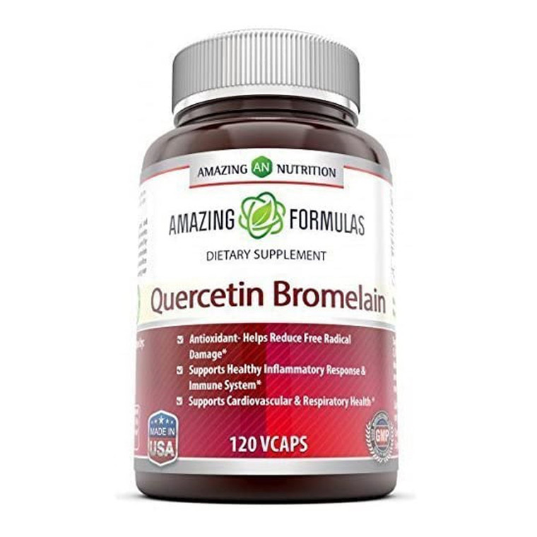 Amazing Nutrition Quercetin 800 Mg With Bromelain 165 Mg Capsules, 120 Ea