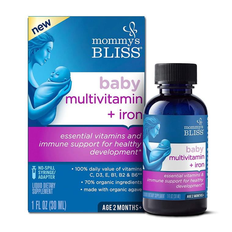 Mommy's Bliss Baby Multivitamin plus Iron Drops Grape, 1 Oz