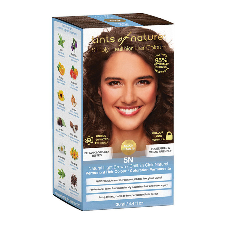 Tints of Nature 5N Natural Light Brown Permanent Hair Colour, 4.4 Oz