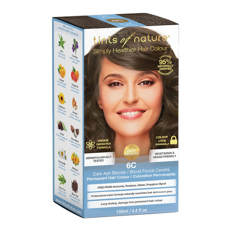 Tints of Nature 6C Dark Ash Blonde Permanent Hair Colour, 4.4 Oz