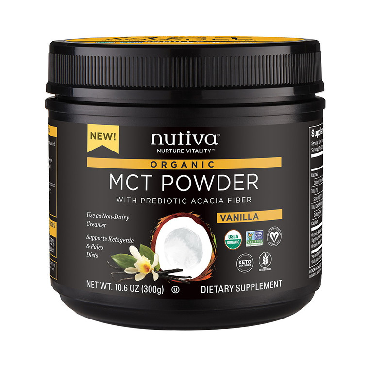 Nutiva Organic MCT Powder with Prebiotic Acacia Fiber, Vanilla, 10.6 Oz