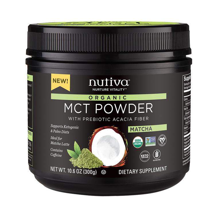 Nutiva Organic Matcha MCT Powder with Prebiotic Acacia Fiber, 10.6 Oz