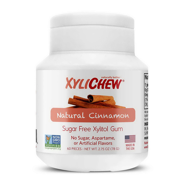 Xylichew Natural Cinnamon Soft Xylitol Chewing Gum, Sugar Free, 60 Ea