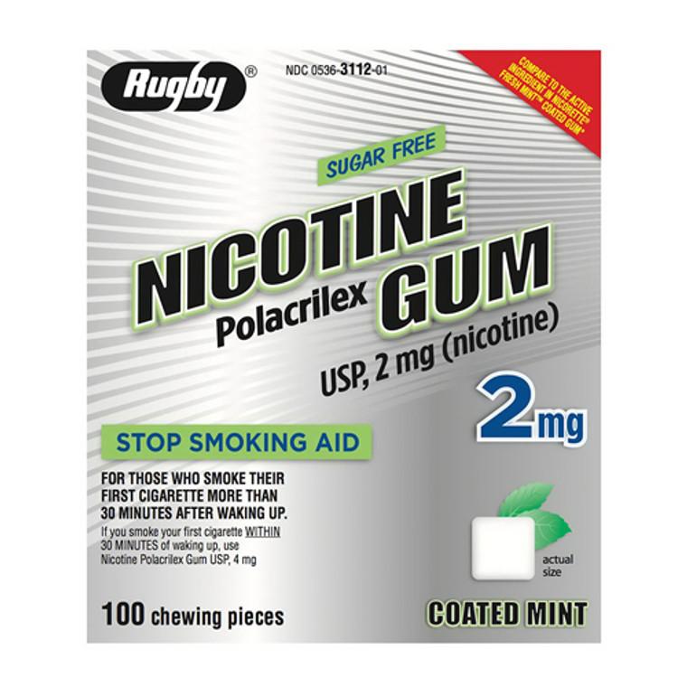 Rugby Nicotine Gum Polacrilex Usp 2 Mg Sugar Free Stop Smoking Aid Coated Mint Chews, 100 Ea