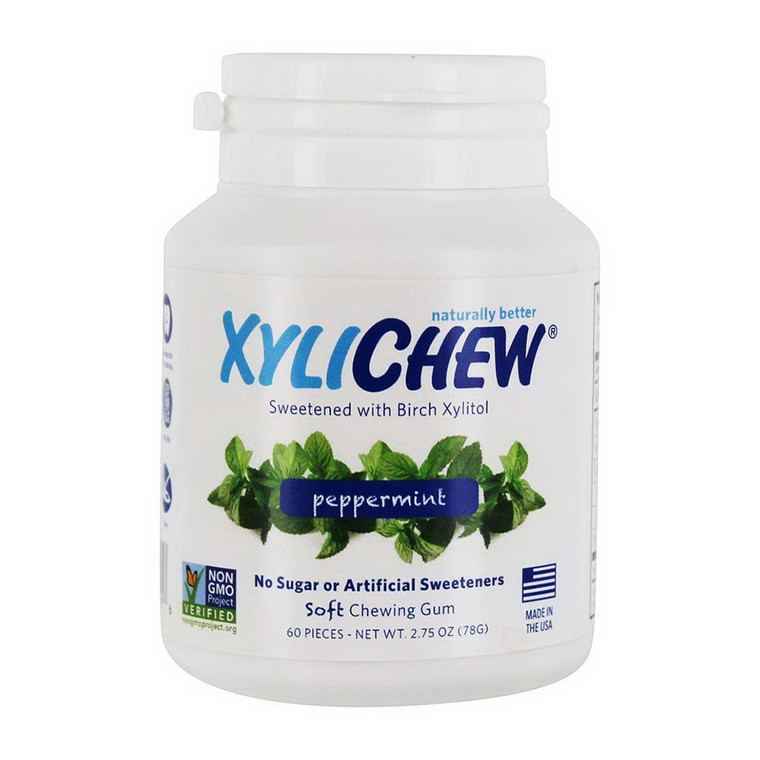 Xylichew Natural Peppermint Soft Xylitol Chewing Gum, Sugar Free, 60 Ea