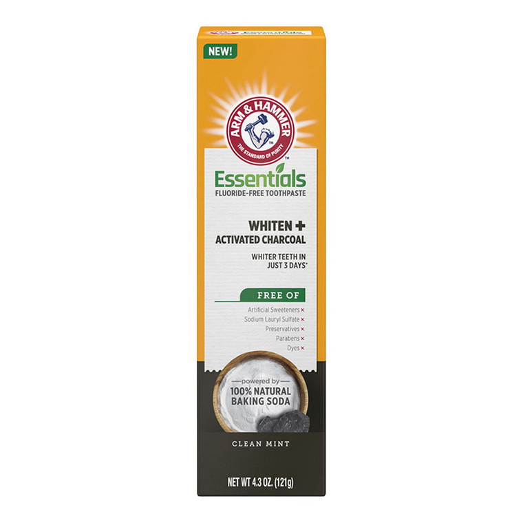 Arm & Hammer Essentials Whiten & Activated Charcoal Fluoride Free Toothpaste, 4.3 Oz