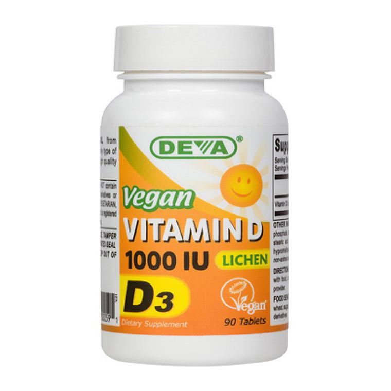 Deva Nutrition Vegan Vitamin D3 1000 IU Tablets, 90 Ea