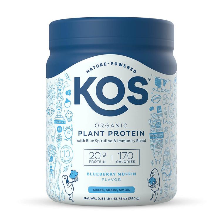 KOS Organic Plant Protein Powder, Blueberry Muffin, 13.75 Oz