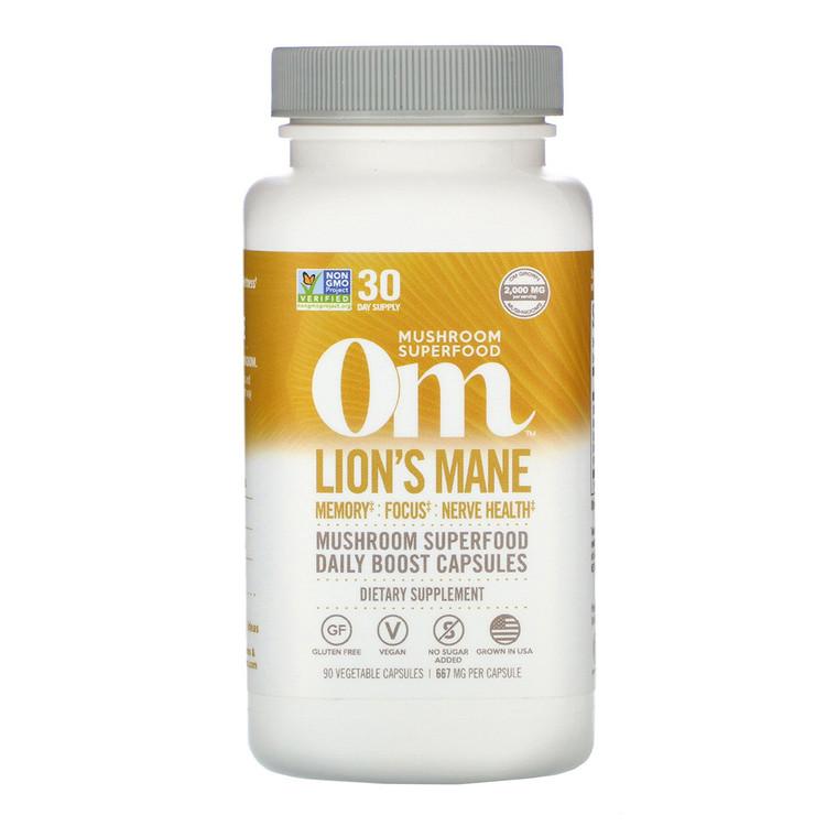 Om Organic Mushroom Lions Mane Superfood Daily Boost Capsules, 90 Ea
