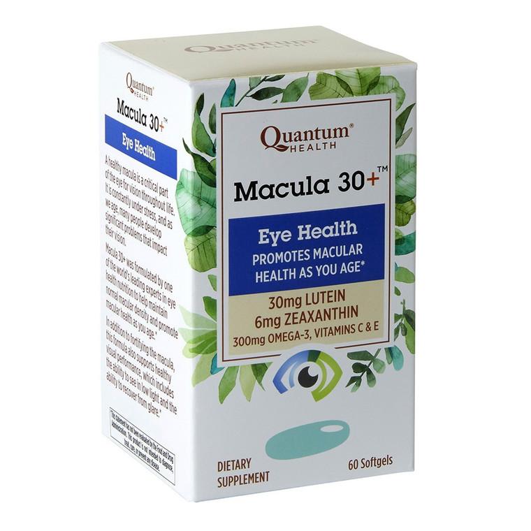 Quantum Health Macula 30+ Eye Health Lutein, Zeaxanthin, Vitamin C and E, Omega 3, Zinc Softgels, 60 Ea