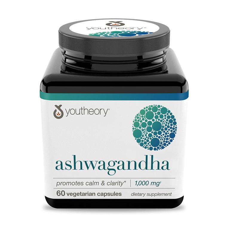 Youtheory Ashwagandha Capsules Promotes Calm and Clarity, 60 Ea