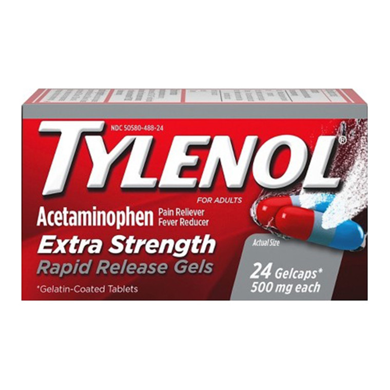 Tylenol Extra Strength Rapid Release Gelcaps For Adults, 24 Ea