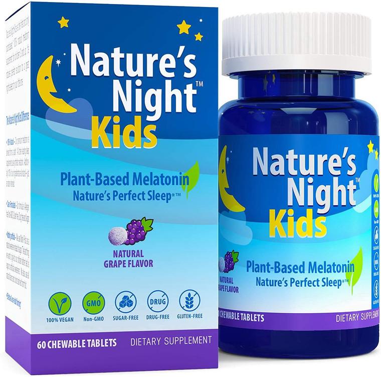 Natures Night Kids Melatonin Chewable Tablets, Natural Grape, 60 Ea