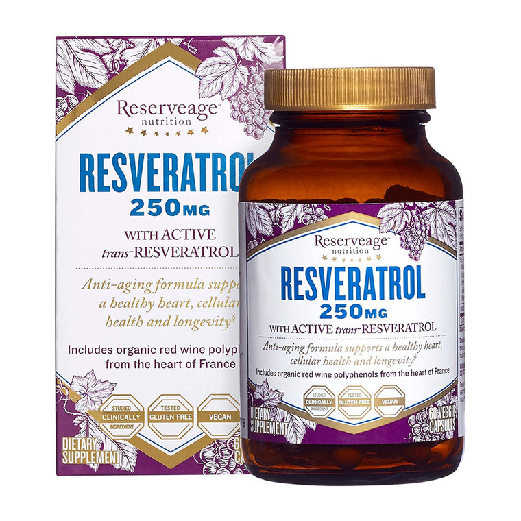 Reserveage Nutrition Resveratrol Cellular Health 250 mg Antioxidant Capsules, 60 Ea