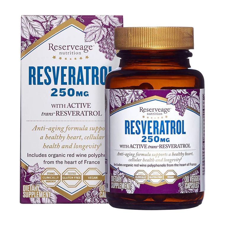 Reserveage Resveratrol 250 mg Antioxidant Supplement Capsules, 30 Ea