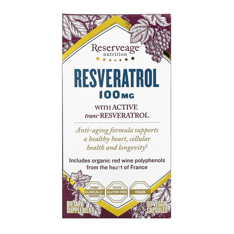 ReserveAge Nutrition Resveratrol 100 mg Veggie Capsules, 60 Ea