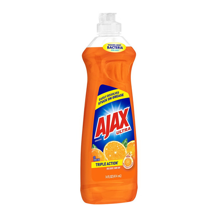 Ajax Ultra Triple Action Liquid Dish Soap, Orange Scent, 14 Oz