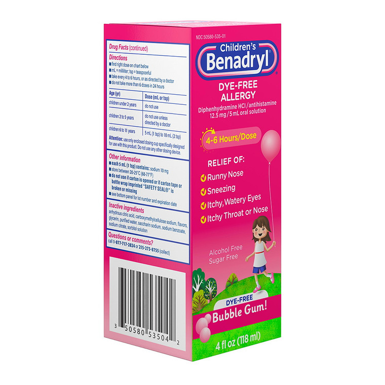 Benadryl Children's Dye-Free Allergy Liquid, Bubble Gum, 4 Oz