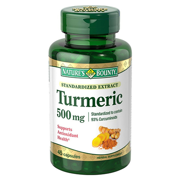 Natures Bounty Standardized Extract Tumeric 500 mg Capsules, 45 ea