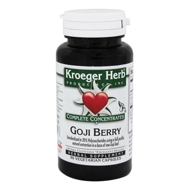 Kroeger Herbs Goji Berry Complete Concentrate Vegetarian Capsules, 90 Ea