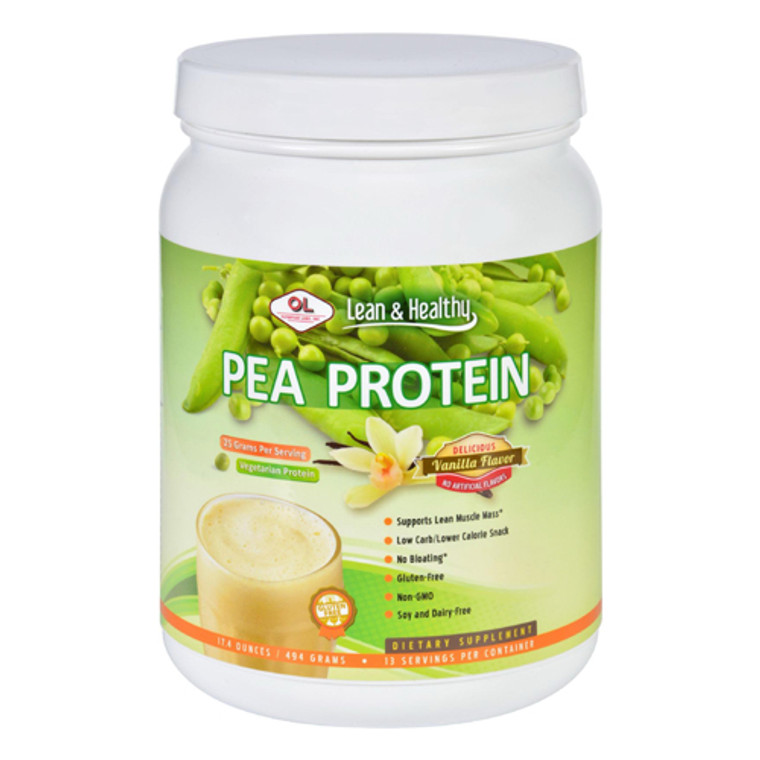 Olympian Labs Pea Protein Powder, 494 Grams, Vanilla Flavor Supports Muscle Mass, 17.4 oz