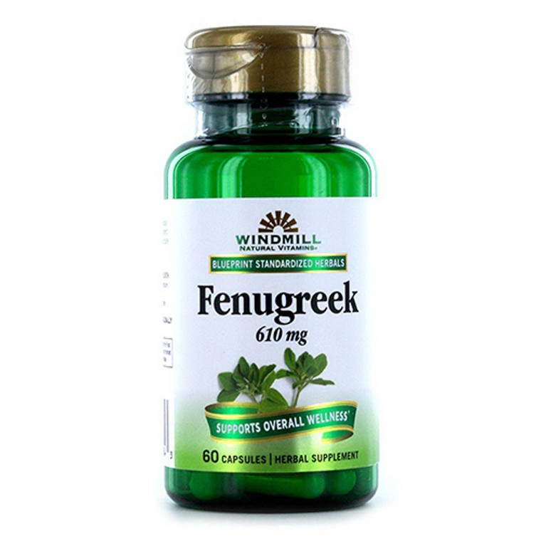 Fenugreek 610 Mg Capsules By Windmill Vitamins, 60 Ea