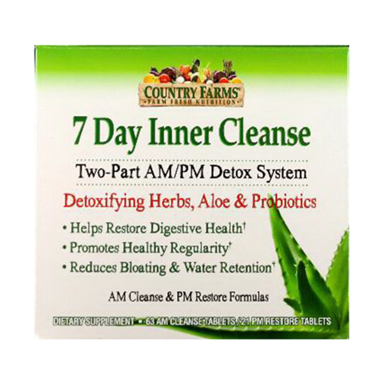Country Farms 7 Day Inner Cleanse, Digestive - 63 Am Cleanse/21 Pm Restore Tablets - 84 Ea