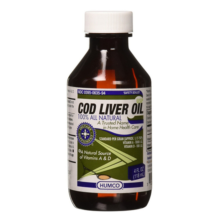 Humco 100% Natural Cod Liver Oil, Dietary Supplement, 4 Oz