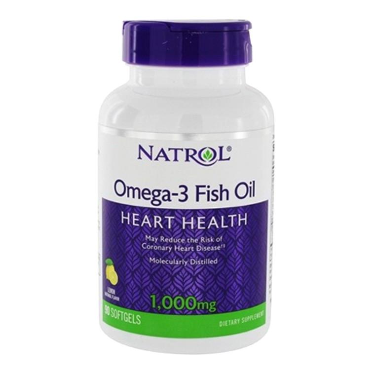 Natrol Omega 3 Fish Oil for Heart Health, Lemon Flavor 1000 mg Softgels, 90 Ea